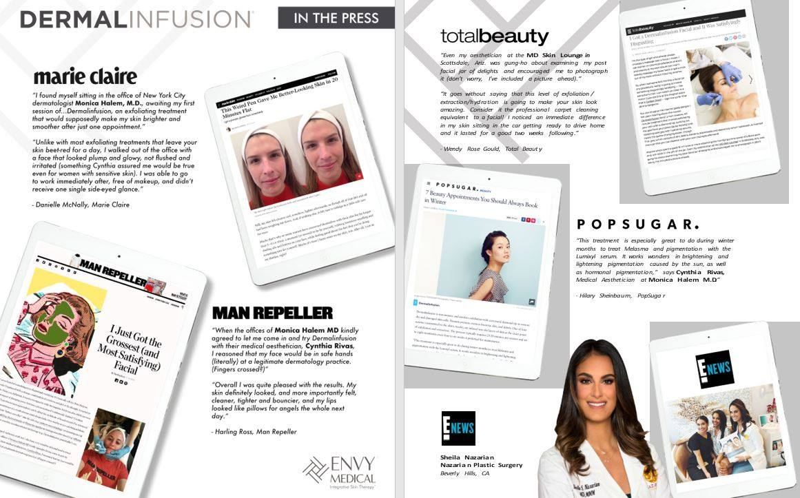 Dermalinfusion used by Celebrities in the Press